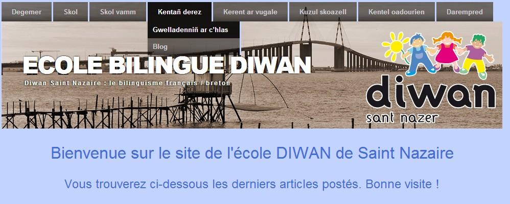 Le site web en breton de l'école Diwan de Saint Nazaire.