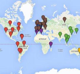 Carte des associations de diaspora bretonne à travers le monde.