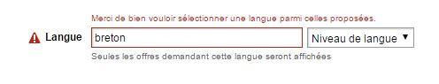Impossible de chercher un emploi en breton sur Pole Emploi.