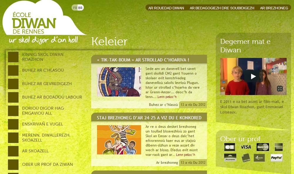 Le site web en breton de l'école Diwan de Rennes.