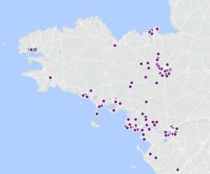 Carte des constructions neuves en Bretagne.