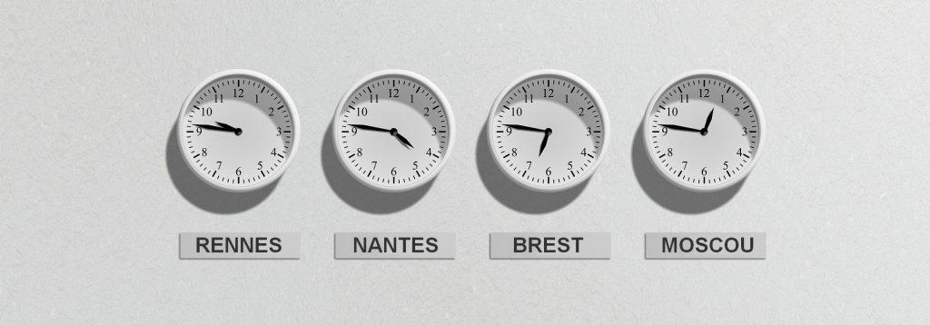 Le décalage horaire entre la Bretagne et la France.