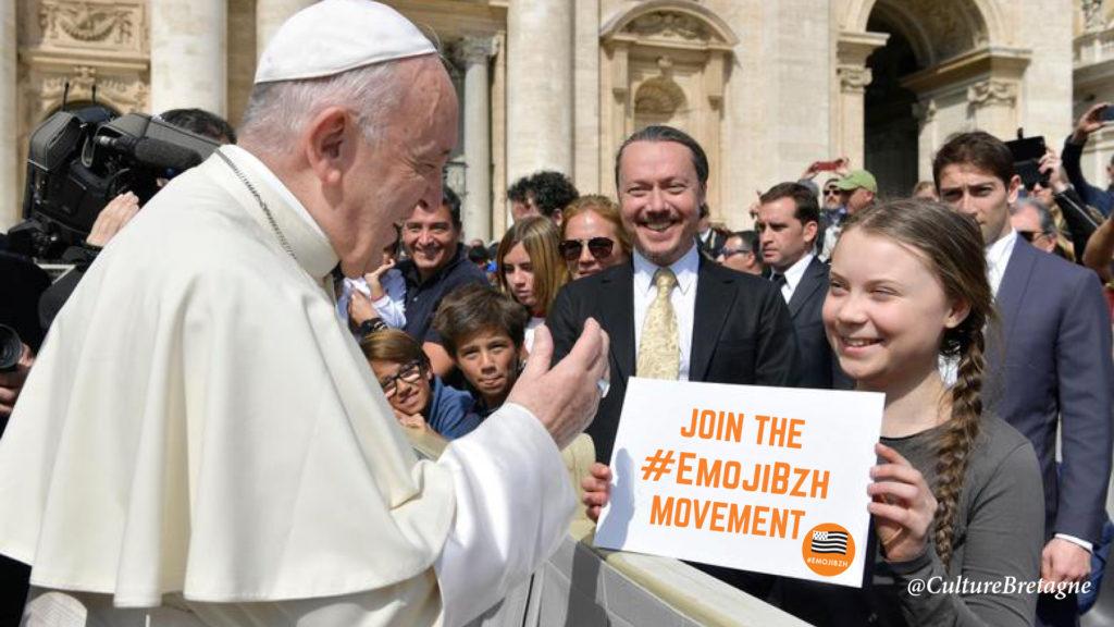Greta Thunberg et le pape soutiennent l'Emoji du drapeau breton.