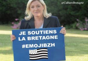 Marine Le Pen soutient l'Emoji pour la Bretagne.