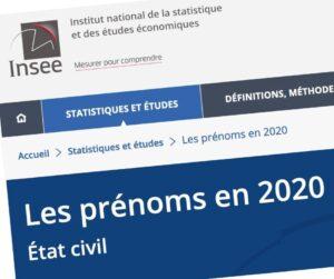Les prénoms donnés en Bretagne selon l'INSEE.